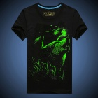 EXPERTEE Cotton + Polyester 3D Luminous T-Shirt - Black (Size XXL)