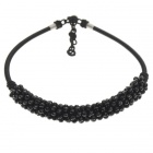 Pure Black Crystal with Silk Knot Design Necklace