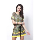 Fashion Loose Ice Cotton Dress - Yellow