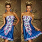 Women's Fashionable Ethnic Strapless Dress - Blue + Pink + Multicolored