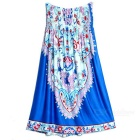 Women's Fashionable Ethnic Strapless Dress - Blue + Pink + Multicolor