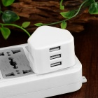 Cwxuan Universal 3-USB Fast Power Adapter - White (100~240V / UK Plug)