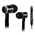 3.5mm Plug Shoelace Style In-Ear Earphone w/ Microphone for Samsung / HTC / Xiaomi + More - Black