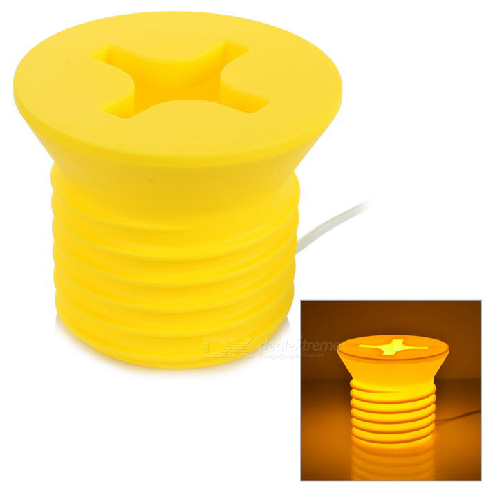Diseño de tornillo creativo E14 5W 85lm blanco cálido LED nightlight - amarillo
