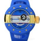Men's Fashionable Rubber Band Analog + Digital Quartz Sports Watch - Blue + Golden (1 x SR626SW)