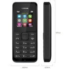 Genuine Nokia 105 SIM 8MB Tranditional Cell Phone - Black