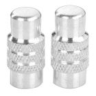 Aluminium Alloy Bicycle Bike Wheel Tyre Presta Valve Cap / Anodized Dust Cover - Silver (Pair)