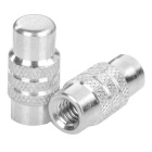 Bike Wheel Tyre Presta Valve Cap / Anodized Dust Cover - Silver (Pair)