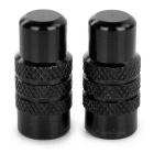 Aluminium Alloy Bicycle Bike Wheel Tyre Presta Valve Cap / Anodized Dust Cover - Black (Pair)