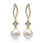 Willow Plum Style Imitation Pearl Pendant Earrings - Golden (Pair)