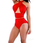 Stylish Lace-up Halter Belly Tight Dacron Bikini Swimwear - Red (M)