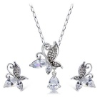Fashion Women's Butterfly + Water Drop Style Zircon Pendant Necklace - Silver