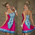 Women's Fashionable Ethnic Strapless Dress - Blue + Deep Pink + Multicolored