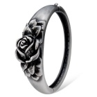 Women's Fashionable Rose Style Alloy Bangle Bracelet - Antique Silver + Black