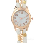 Women's Cow Leather Analog Quartz Bracelet Watch - White (1*377)