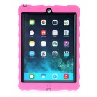 Tire Pattern Dustproof Protective PC + Silicone Back Case w/ Holder for IPAD AIR - Deep Pink