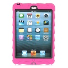 Tire Pattern Dustproof Protective PC + Silicone Back Case w/ Holder for IPAD MINI - Deep Pink