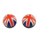 CARKING UK Flag Round Car Tire Valve Cap Cover - Red + Blue (4PCS)