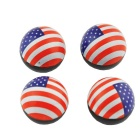 CARKING Car US National Flag Pattern Round Shape Tire Valve Wheel Stem Cap Cover Spare Part (4 PCS)