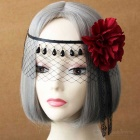 Women's Retro Dancing Party Ball Lace Half Face Veil Mask Headwear w/ Red Flower Tassel - Black