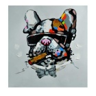 Hand Painted Animal Cool Smoking Mr. Dog Oil Painting - Black + Grey + Multicolor