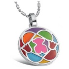 G.ERIMON GX572 Fashionable Puzzle Style 316L Stainless Steel Pendant Necklace - Silver + Multi-Color