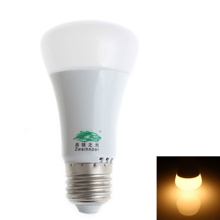 Zweihnder E27 7W LED Bulb Lamp Warm White Light 600lm 18-SMD - White