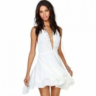 Women's Sexy Casual Stretchy Deep-V-Neck Sleeveless Chiffon + Lace Mini Dress - White (XL)