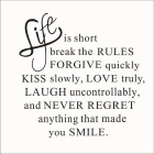 """Life is Short"" English Words & Quotes PVC Wall Stickers Decals - Black"