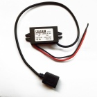 USB 12V/24V to 5V Voltage Step-Down Power Converter Adapter Cable - Black