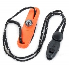 Fire Starter Flintstone w/ Compass / Whistle / Scraper - Orange
