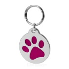 Cute Dog Footprint Style Charming ID Name Tag Pendant for Pet Dog / Cat - Red + Silver