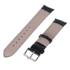 22mm Durable Adjustable PU Pin Buckle Watch Band Strap - Black