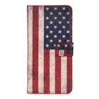 Flag of US Retro Style PU Leather Flip-Open Case for HTC One M9 - Red
