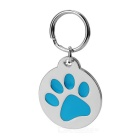 Cute Dog Footprint Style Charming ID Name Tag Pendant for Pet Dog / Cat - Blue + Silver