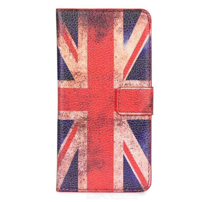 UK Flag Pattern Protective Flip-Open PU Ledertasche w / stand für HTC One M9 - Rot + Blau