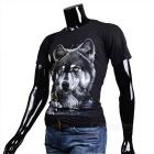 Fashionable Cool Casual Snow & Wolf Pattern Round-Neck Short-Sleeve Cotton T-Shirt Top - Black (M)