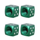 MZ 8mm Dice Car Aluminium Alloy Tire Valve Caps - Green (4PCS)