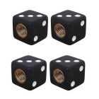 MZ Universal 8mm Dice Car Plastic Tire Valve Caps - Black (4PCS)
