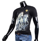 Fashionable Cool Casual Horses Pattern Round-Neck Short-Sleeve Cotton T-Shirt Top - Black (M)