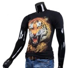 Tiger Pattern Short-sleeved Round Collar Cotton T-shirt - Black (Size M)