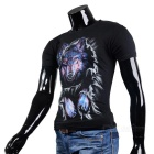 Fashionable Cool Casual Wolf Pattern Round-Neck Short-Sleeve Cotton T-Shirt Top - Black (M)