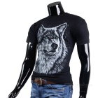 Fashionable Cool Casual Wolf King Pattern Round-Neck Short-Sleeve Cotton T-Shirt Top - Black (M)