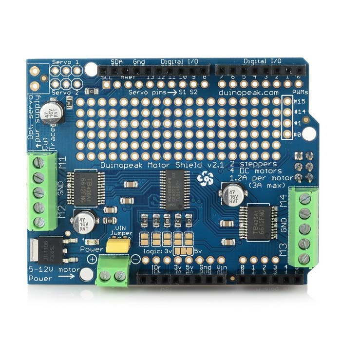 Motor driver shield v expansion board for arduino blue