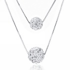 eQute 925 Fashionable Women's Crystal Necklace w/ Dual-Ball Pendant - Silver
