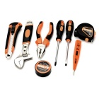 SDBL Household Screwdrivers Electroprobe Knife Plier Repair Maintenance Tool Kit - Orange + Grey