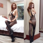 Hollowed Vest Open Files Siamese Stockings Sexy Lingerie - Black