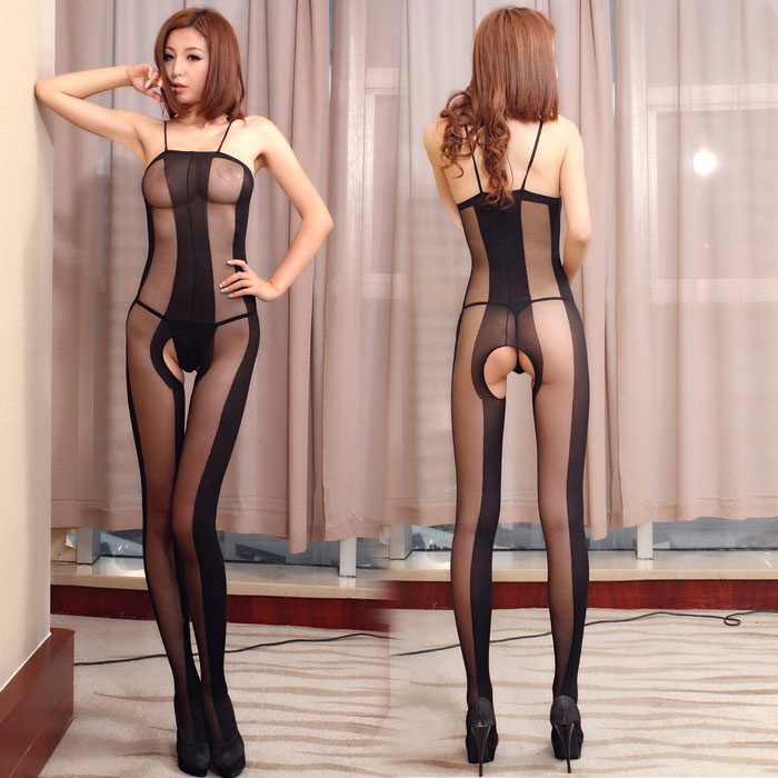 Hollowed Bars Perspective Siamese Stockings Sexy Lingerie - Black