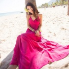 Women's Elegance Bohemian Cotton Halter Long Dress - Deep Pink (M)