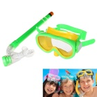 Children's Scuba Diving Snorkeling PVC Mask Set - Yellow + Green